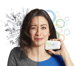 Woman using gammaCore for migraine
