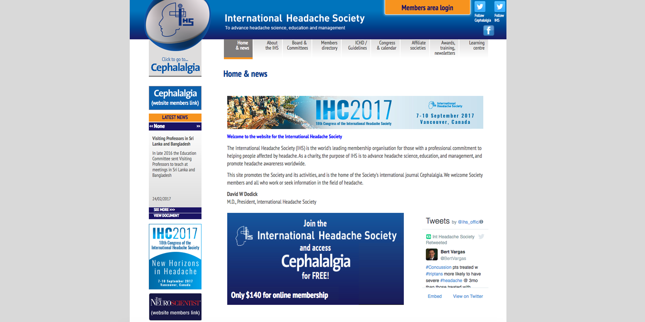 Image of International Headache Society website